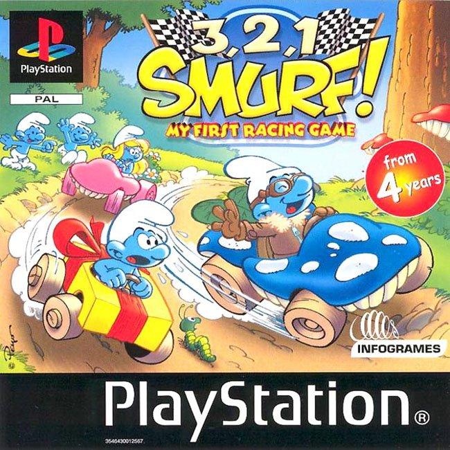 Smurf Racer [PSX-PSP][PAL][ESP] 3-2-1-Smurf-SLES-03120-Front